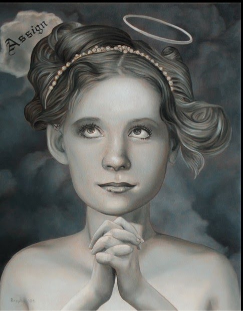 figurative painting of a young girl praying with a halo above her head painted by artist john brophy