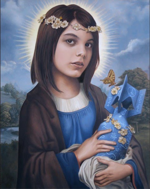 metaphorical painting by john brophy of a young girl holding a bomb with similarities to the classic mother and child painting