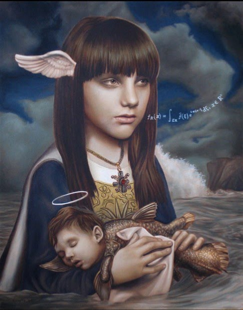 john brophy's surreal metaphorical painting of a young girl with wings on her head holding a baby which is half human and half amphibian