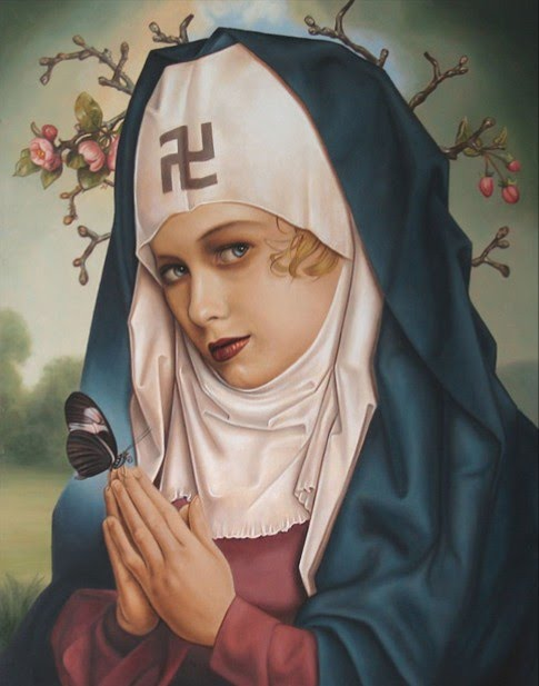 metaphorical painting by john brophy of a nun praying with a backwards nazi symbol on her forehead