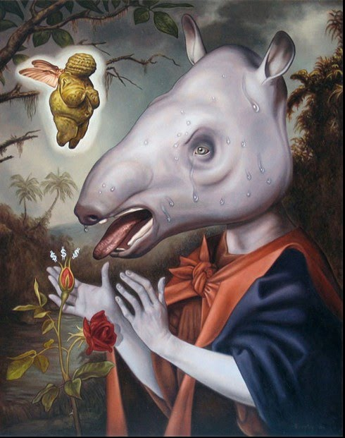 surreal painting by john brophy of a person in a robe with a hippopotamus head and an ancient sculpture of a mother goddess floating nearby