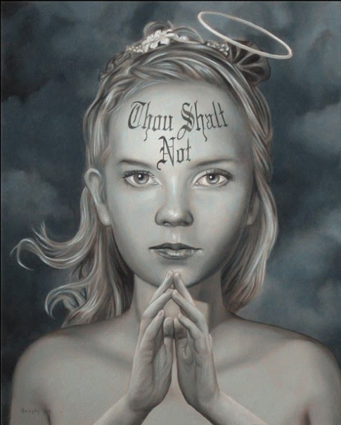 metaphorical realistic painting of a young girl with the words thou shalt not written on her forehead painted by artist john brophy