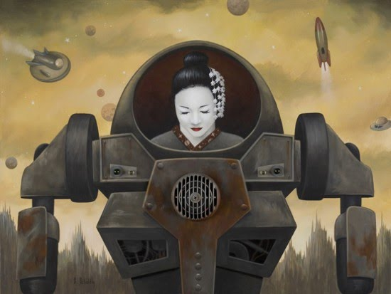 japanese woman robot painting