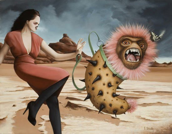 surreal painting girl walking beast moon mars