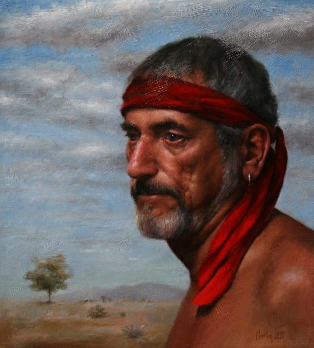 realistic portrait painting of man with red bandana