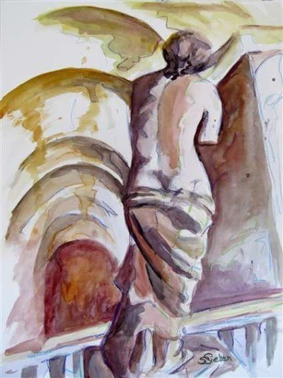 original venus de milo watercolor painting