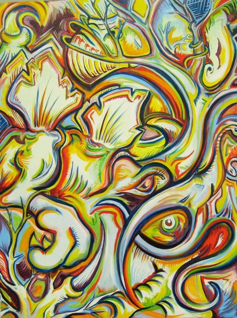 abstract surreal painting with lots of color