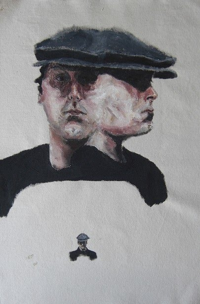 front portrait and side profile painting of a man with hat on