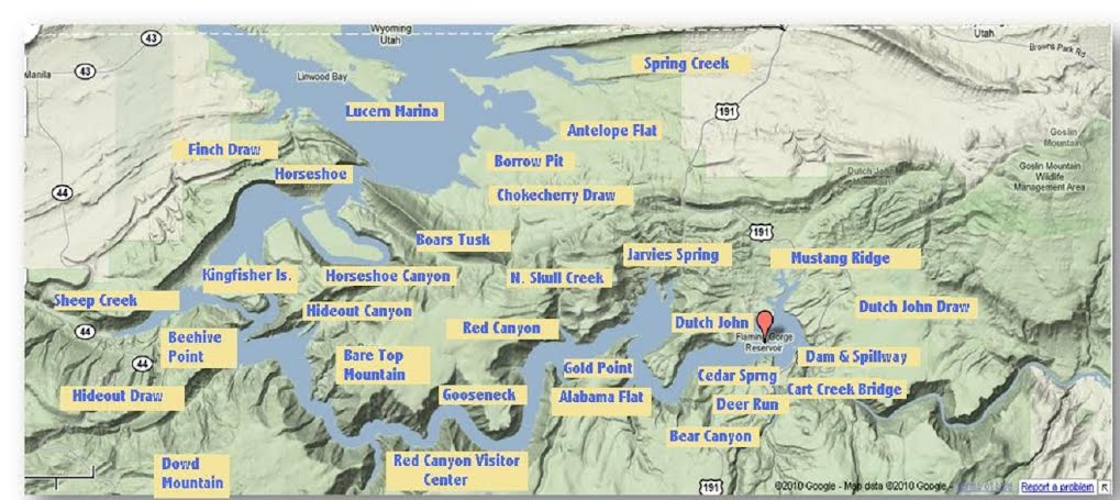 Flaming Gorge Map Location   Monty's Trophy Trout Guide Fishing Flaming Gorge Flaming Gorge Map