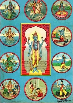 A painting of avatars of Vishnu. Source: Wikipedia