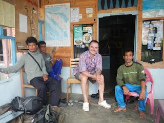 Mr Jali (right), happy customer and Pak Budin, chief guide