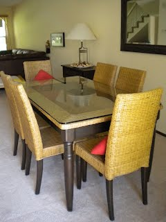 pier one dining table Pier 1 Wicker with Glass Top Dining Table Set w/ 6 Chairs   MOVING  pier one dining table