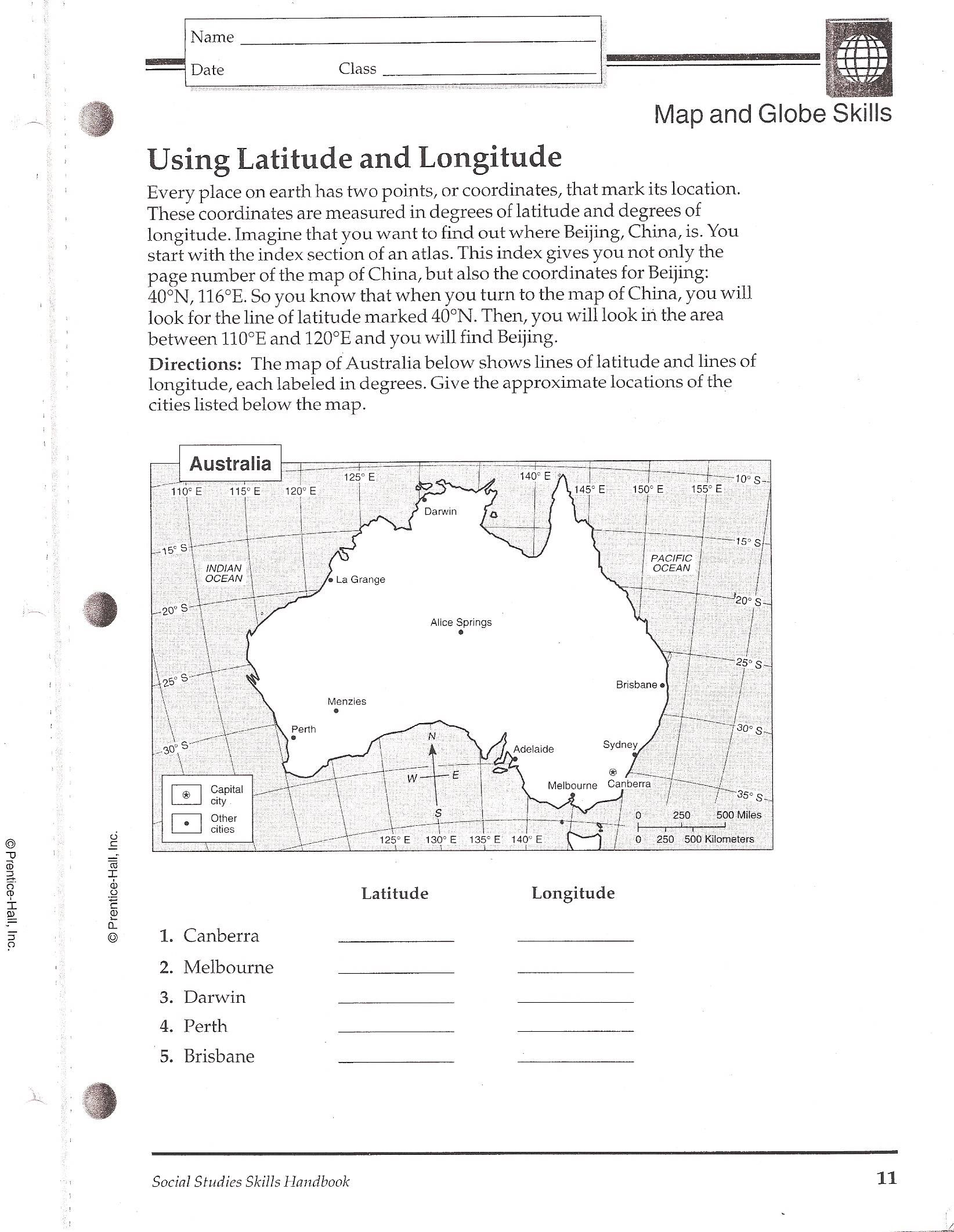 Worksheets Latitude And Longitude Worksheets 4th Grade latitude longitude worksheets and usa on pinterest