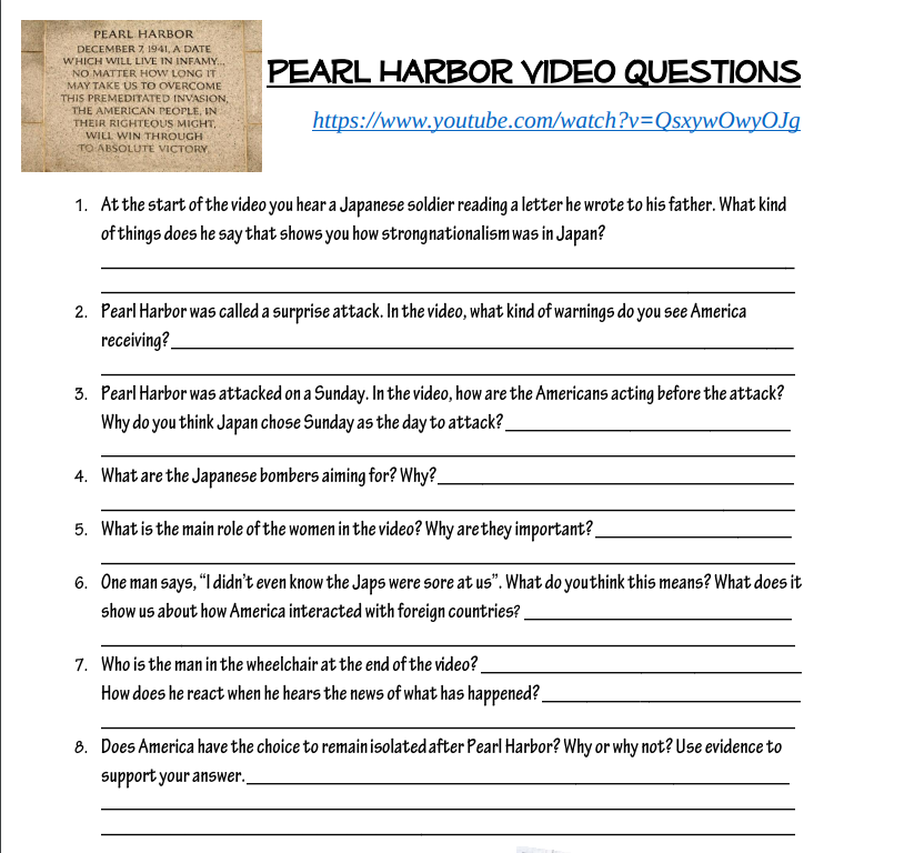 Pearl Harbor Worksheet Mr Hanson History Corner – Pearl Harbor Worksheet