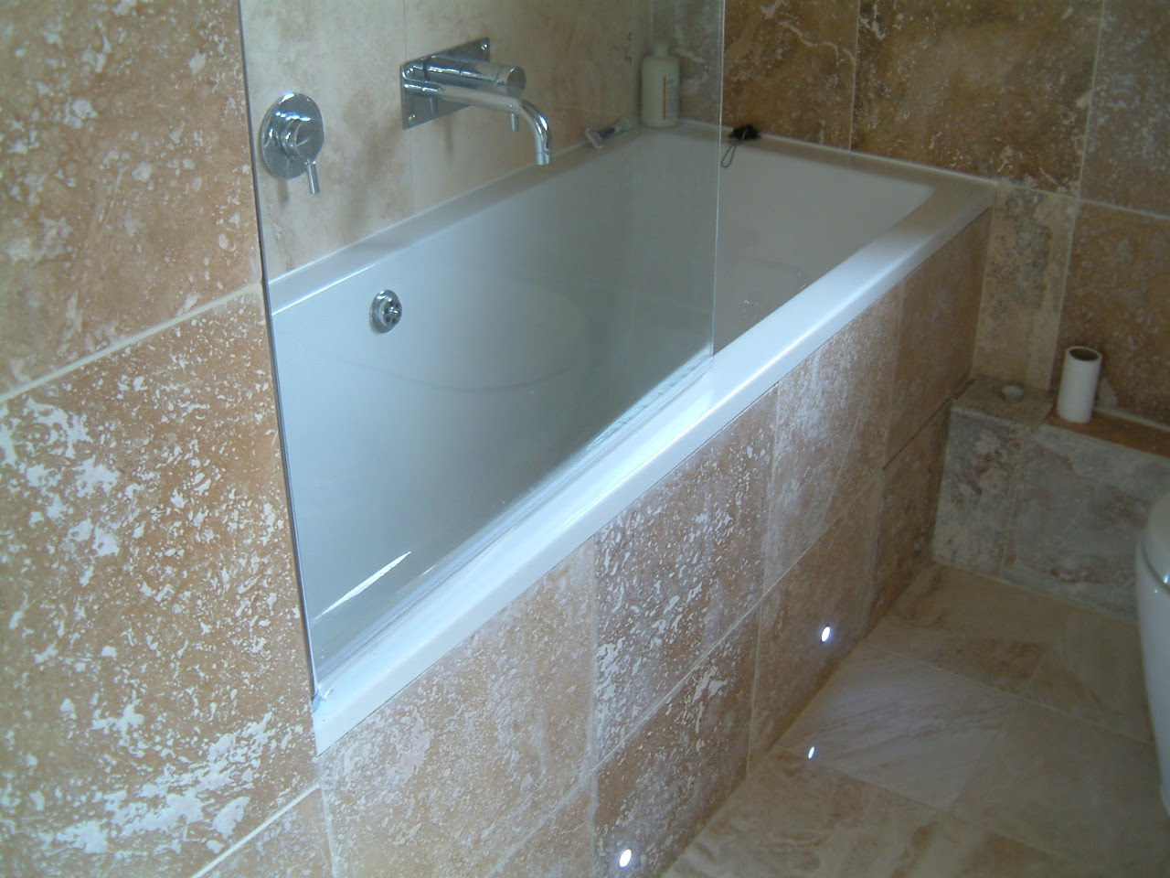 bathroom southwestlondon mrjakeblack a simple glass shower screen was installed over the bath and low level led lights were used to give more interesting and versatile lighting options