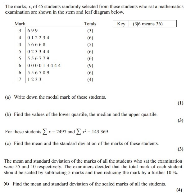 Standard deviation and coding mr jeffery maths question 3 ccuart Images