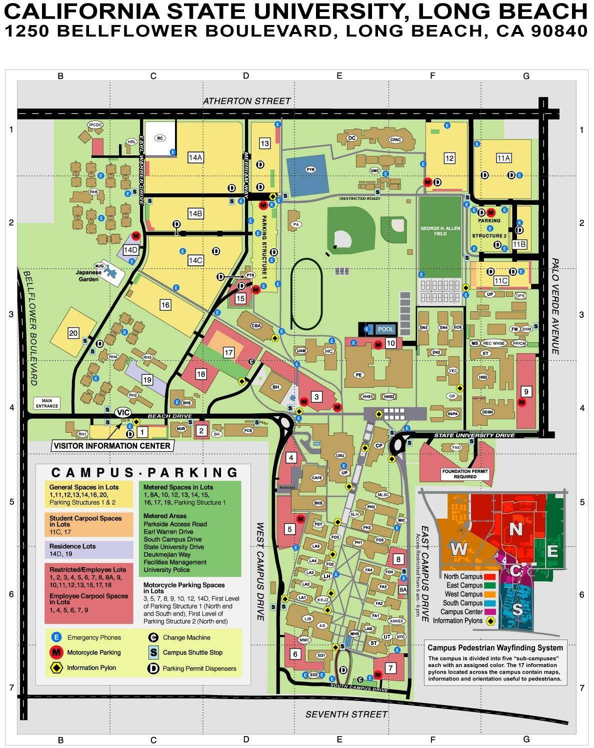 Csulb Parking Map CSULB LIBRARY INFO  Map, Link, Hours   MrsBowmanOCSA Csulb Parking Map
