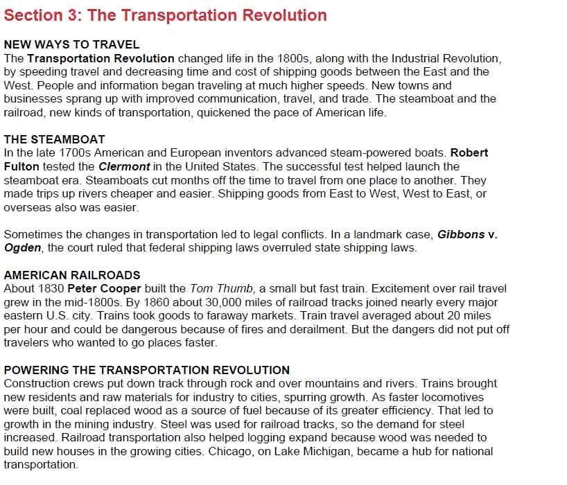 11 3 The Transportation Revolution - Mr  Tinkham's Class