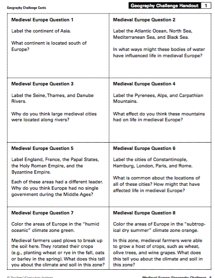 geography challenge handout modern europe answers