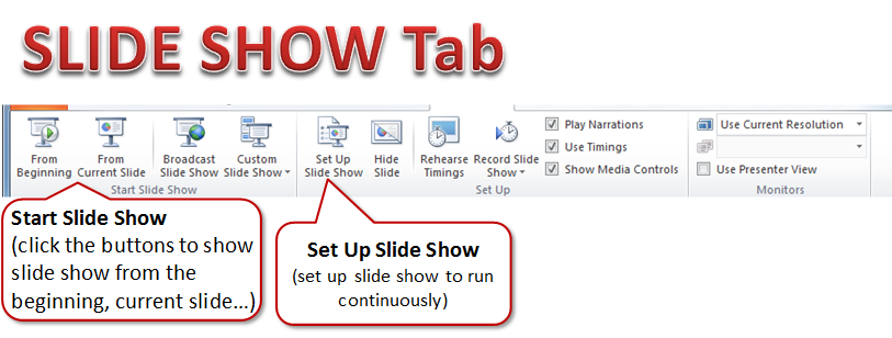 slide show tab intro to powerpoint 2010