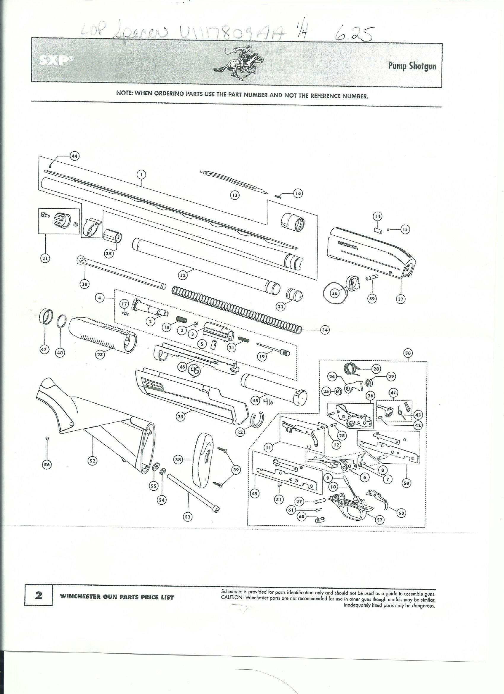 Winchester pump shotgun SXP parts diagram - My Work In Photographs