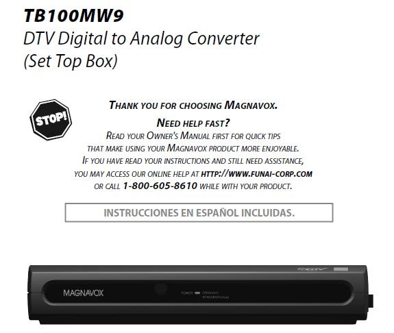 tb100mw9 user manual how to and user guide instructions u2022 rh taxibermuda co Magnavox Converter Box for TV Magnavox Converter Box for TV
