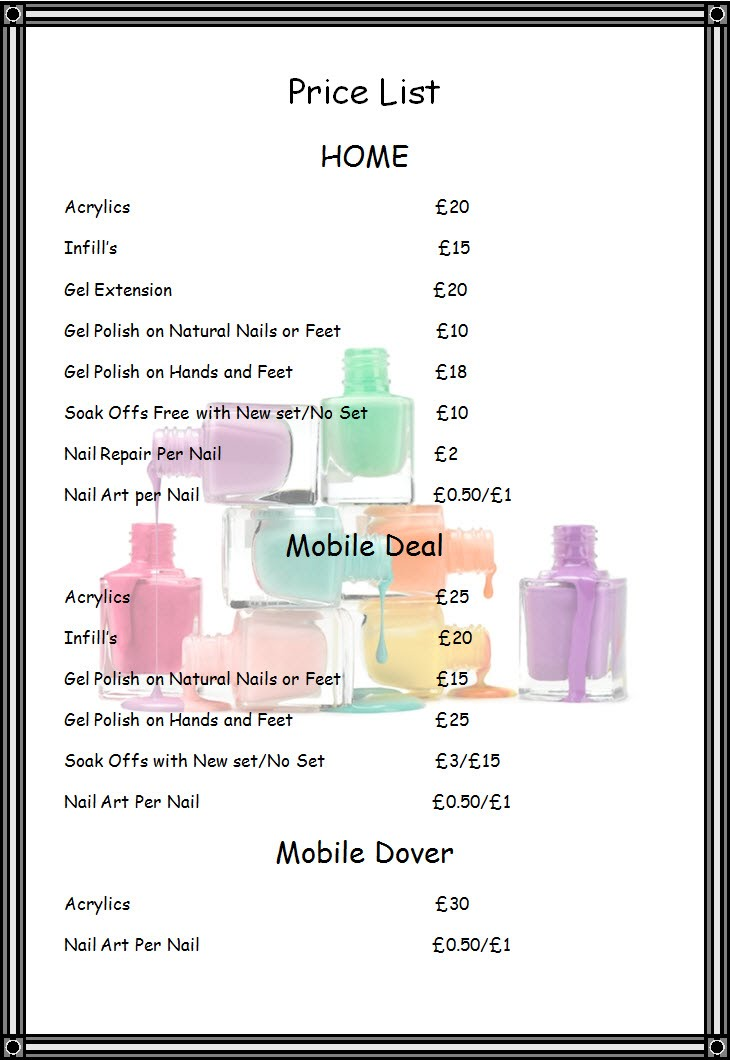 Price List - Nails By Mell