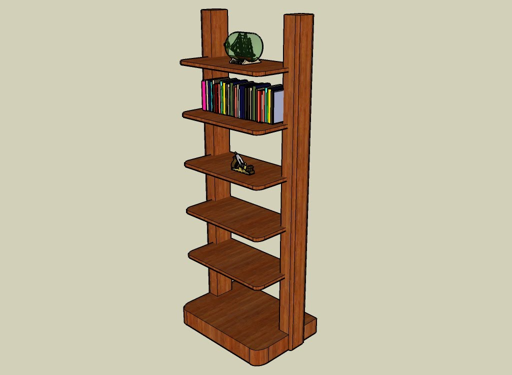 Bookcase with a few items on the shelves