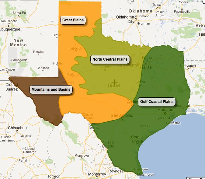 Four Regions Of Texas Map