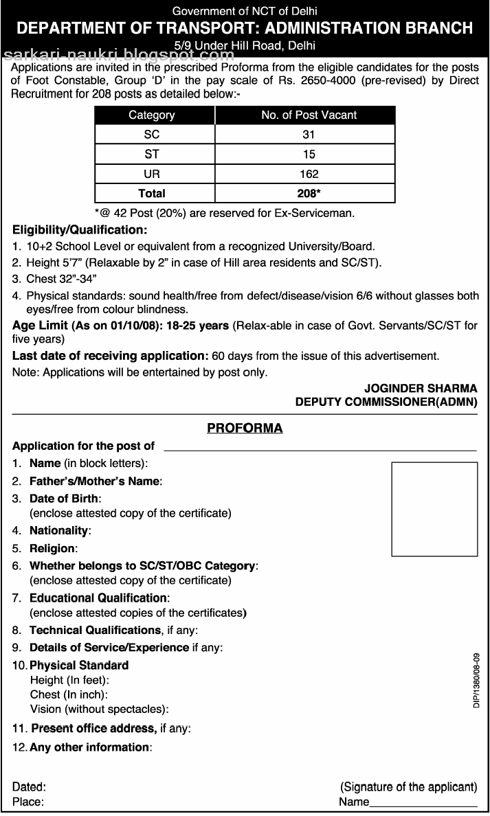 application to be a special constable