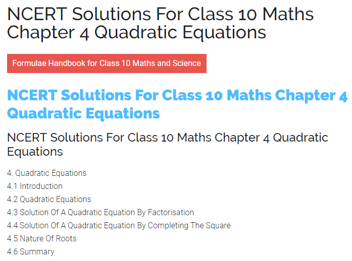 ncert solution for class 10 maths chapter 4