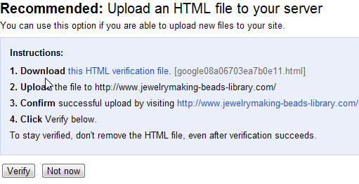 Google Webmaster Tool - upload HTML method