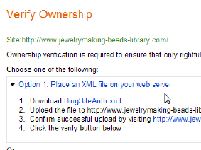 Bing Webmaster XML verification method