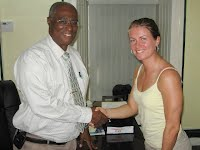 Nevis Premier, Hon. Joseph Parry greets Anna Linner of Sweden for discussions after the meet