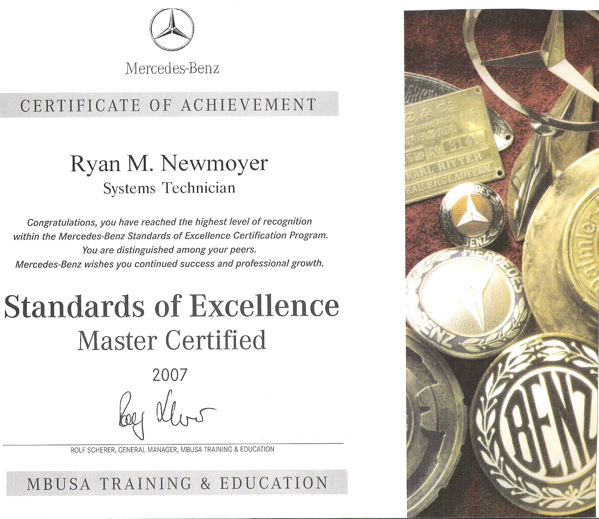 Exceptional Mercedes Benz Master Certified Certificates