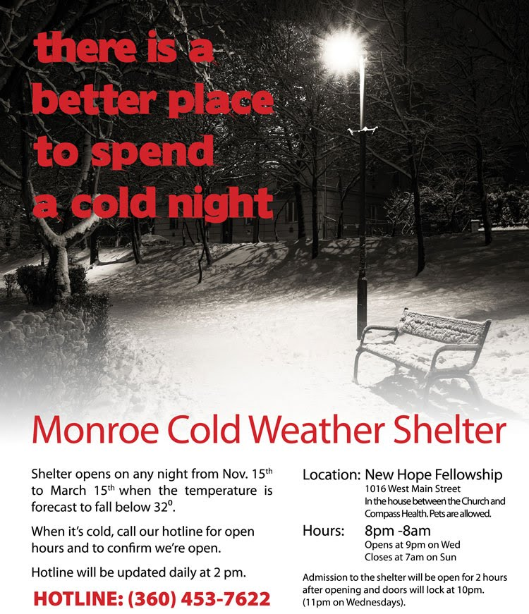 Cold Weather Shelter Hotline 360 453 7622