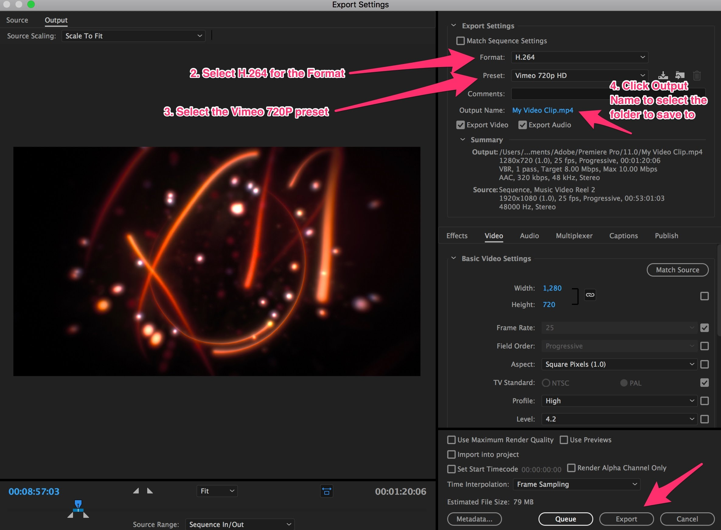 Exporting a compressed clip from Premier Pro to upload to