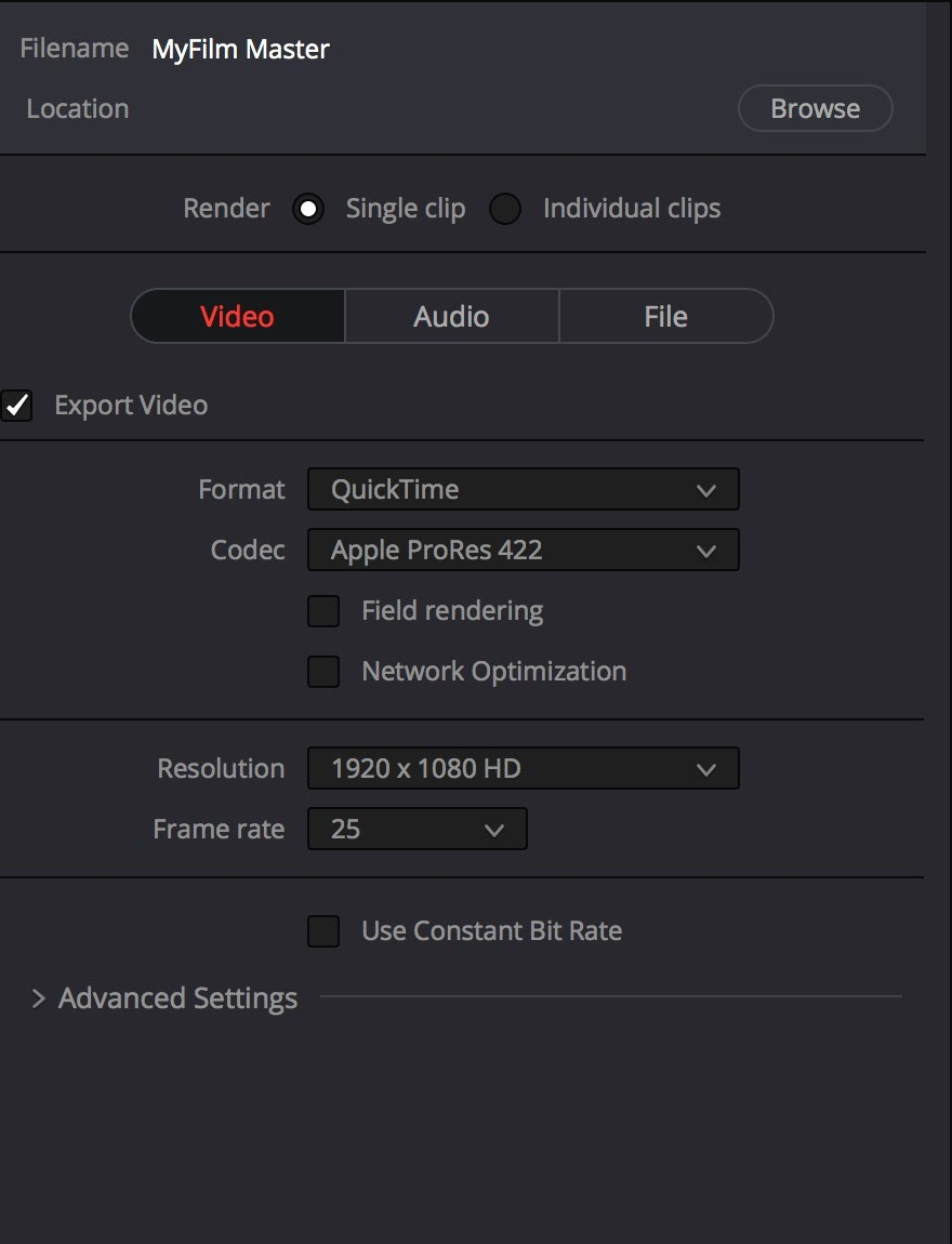 7 4 Exporting a 1080P HD Master from Davinci Resolve