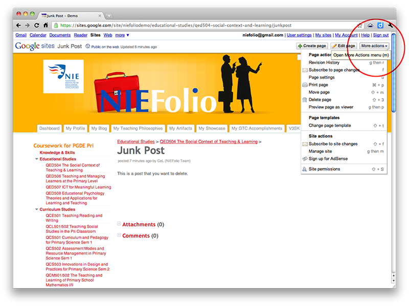 Delete an untitled/unwanted post - NIeFolio Help Site for Students