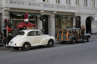 Morris Minor and a baby Morris