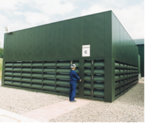 Louvered noise barrier type of wall