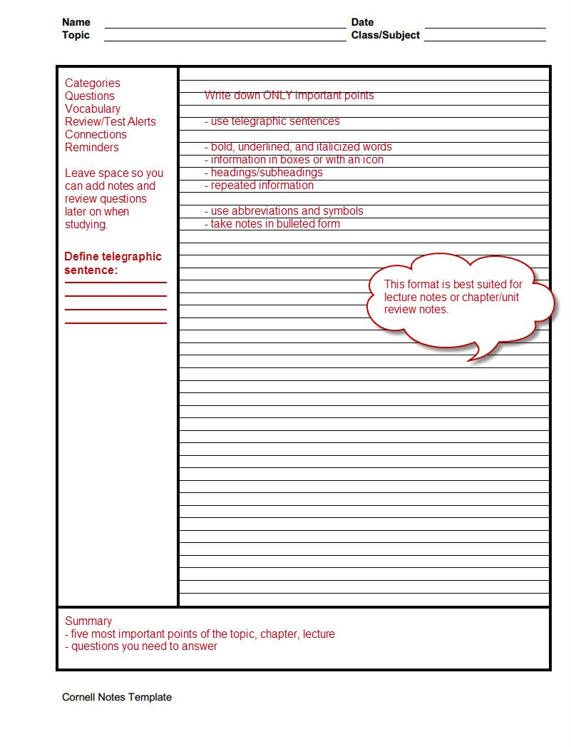 Cornell Method - Note-Taking and Study Skills