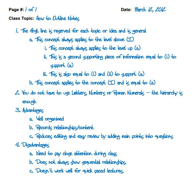 Image result for note taking outline