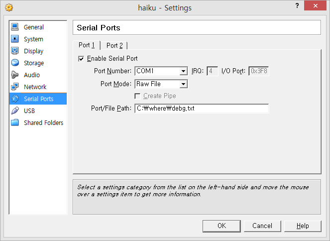 VirtualBox Serial Debugging on Windows | Haiku Project