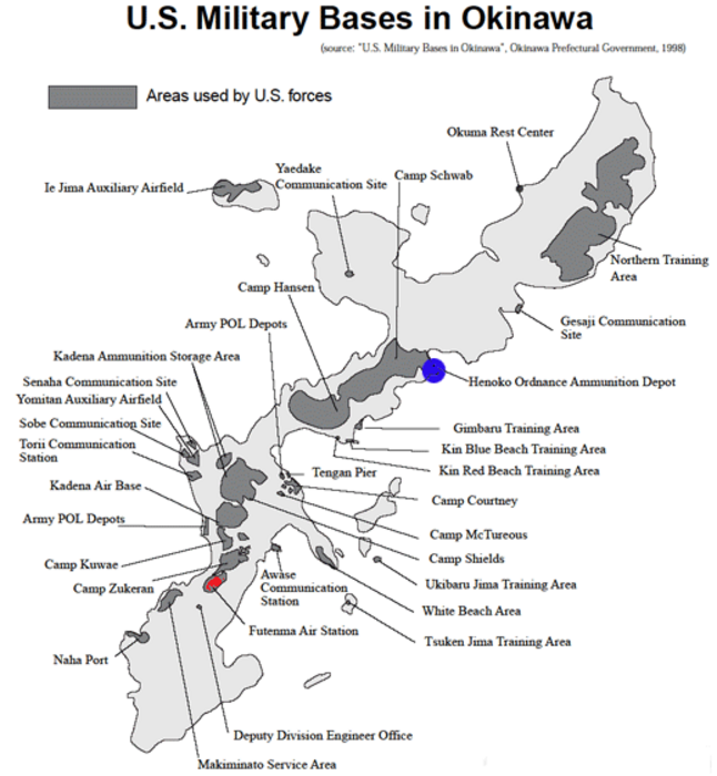 20 of the land area of okinawa is taken up by us bases