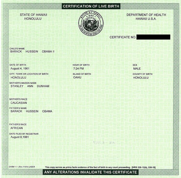 Obama Short Form Birth Certificate - Obama's Hidden Birth ...
