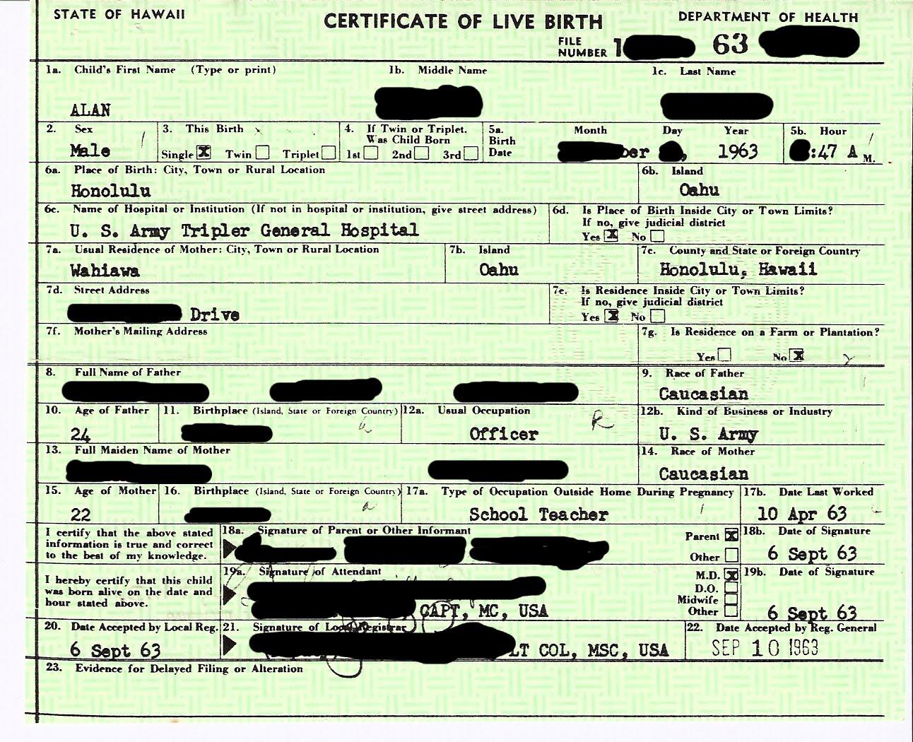 Obama Short Form Birth Certificate - Obama's Hidden Birth ...