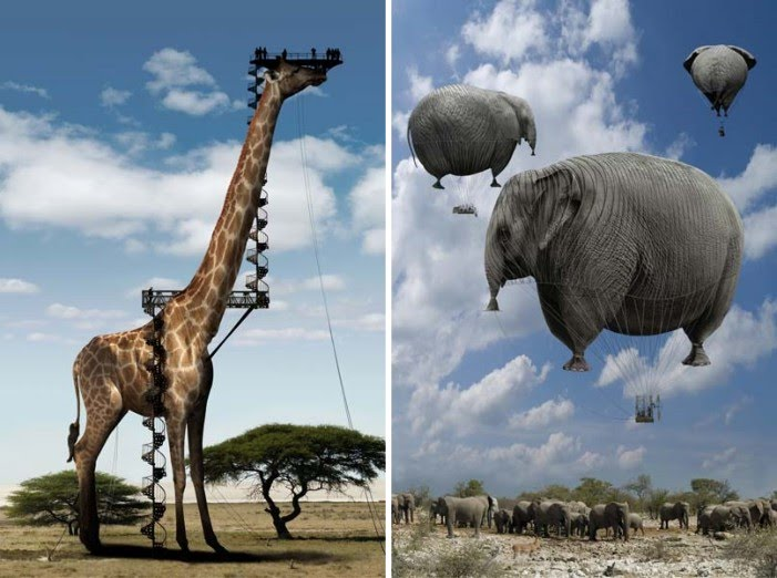 digital photography of giant giraffe viewing tower and floating elephants by chris bennett