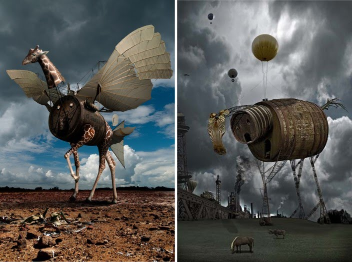 digital photography by chris bennett of surreal flying giraffe and zebra made of wood barrels