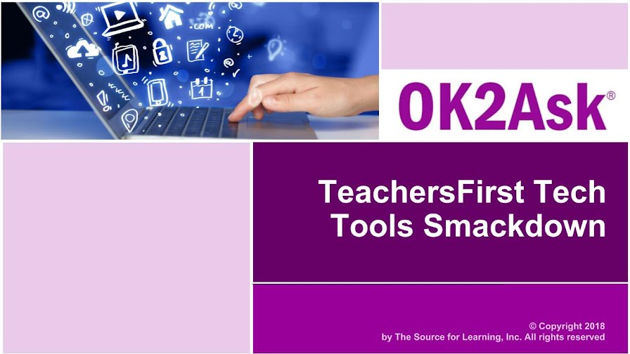 TeachersFirst Tech Tools Smackdown session title slide image